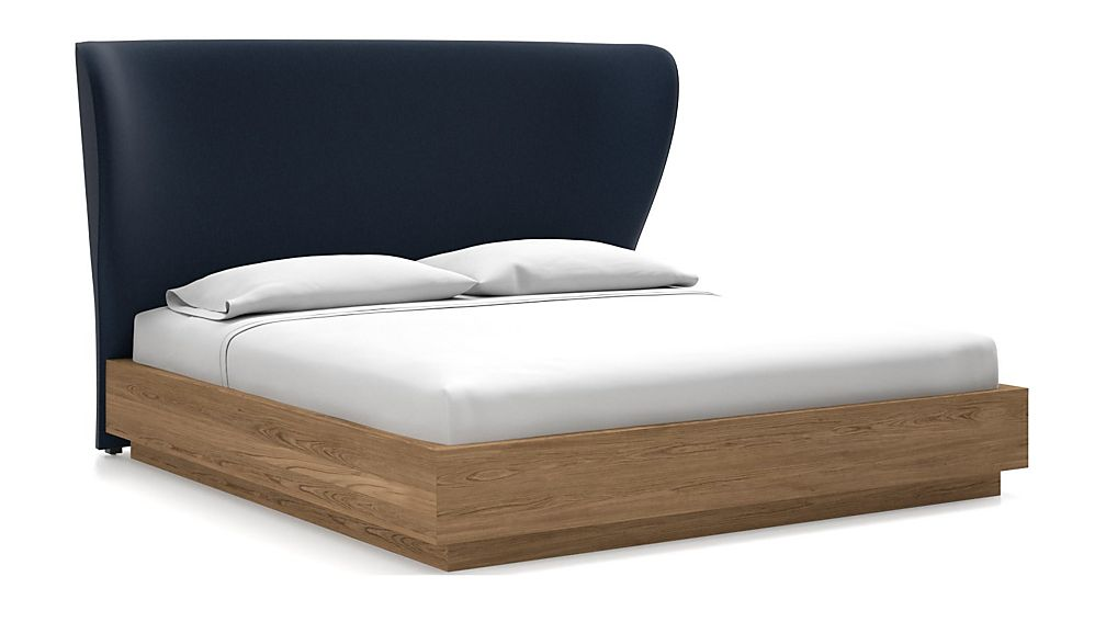 Carlie King Headboard with Batten Plinth-Base Bed Sapphire - Image 1 of 1