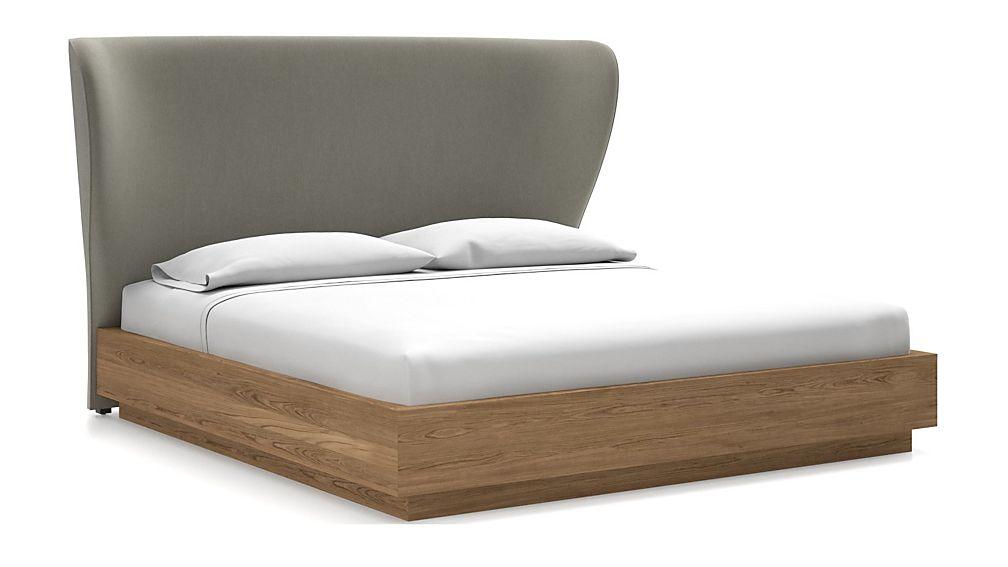 Carlie King Headboard with Batten Plinth-Base Bed Dove - Image 1 of 1