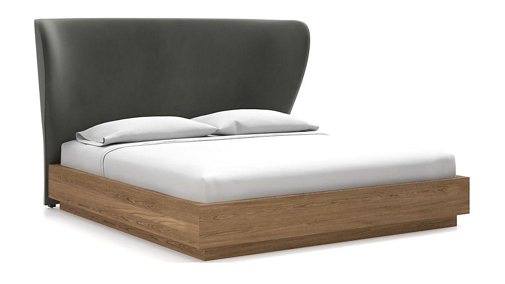 Carlie King Headboard with Batten Plinth-Base Bed Fog - Image 1 of 1