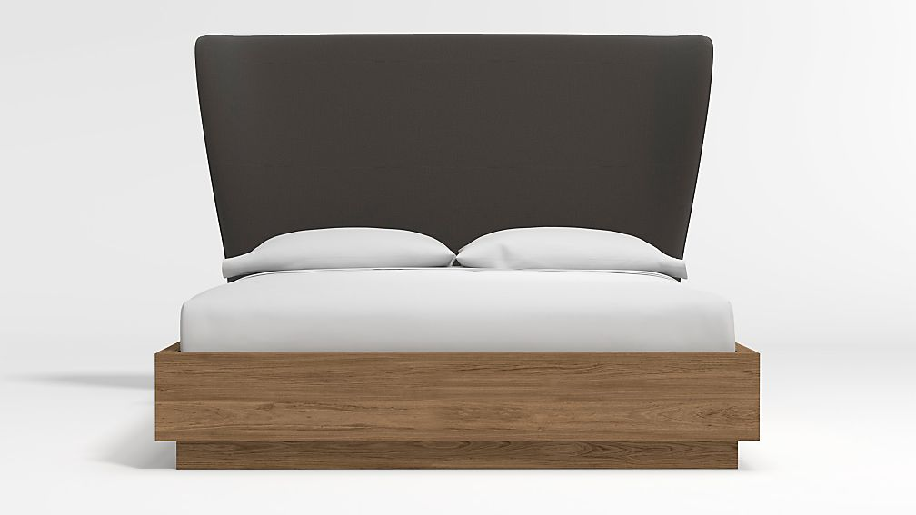 Carlie Queen Headboard with Batten Plinth-Base Bed Carbon - Image 1 of 3