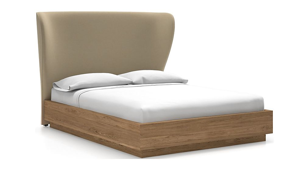 Carlie Queen Headboard with Batten Plinth-Base Bed Chalk - Image 1 of 1