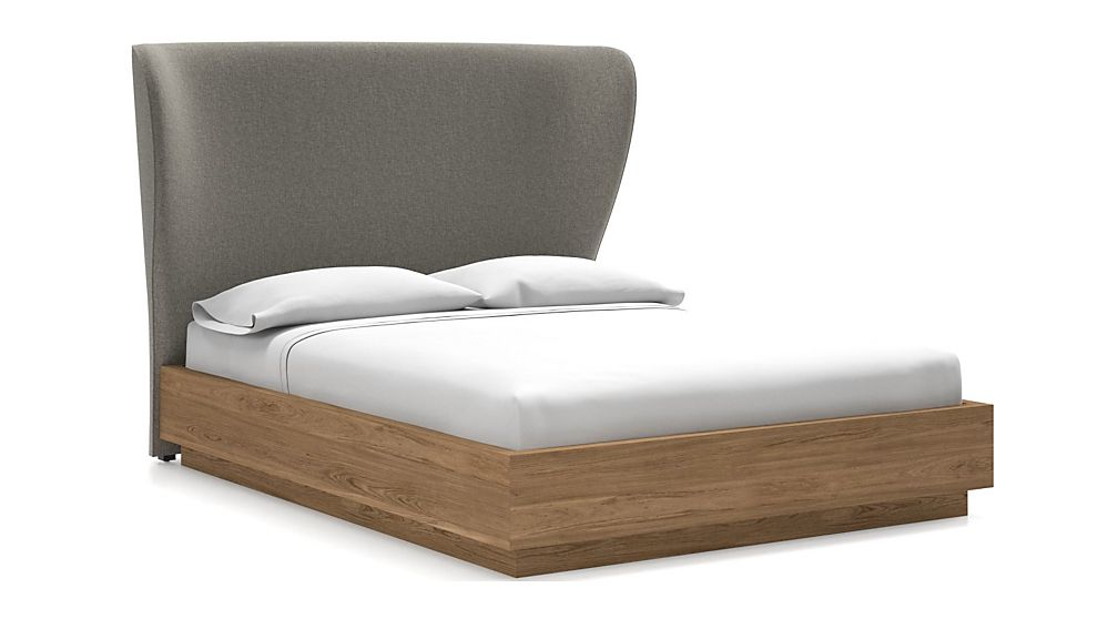 Carlie Queen Headboard with Batten Plinth-Base Bed Felt Grey - Image 1 of 1