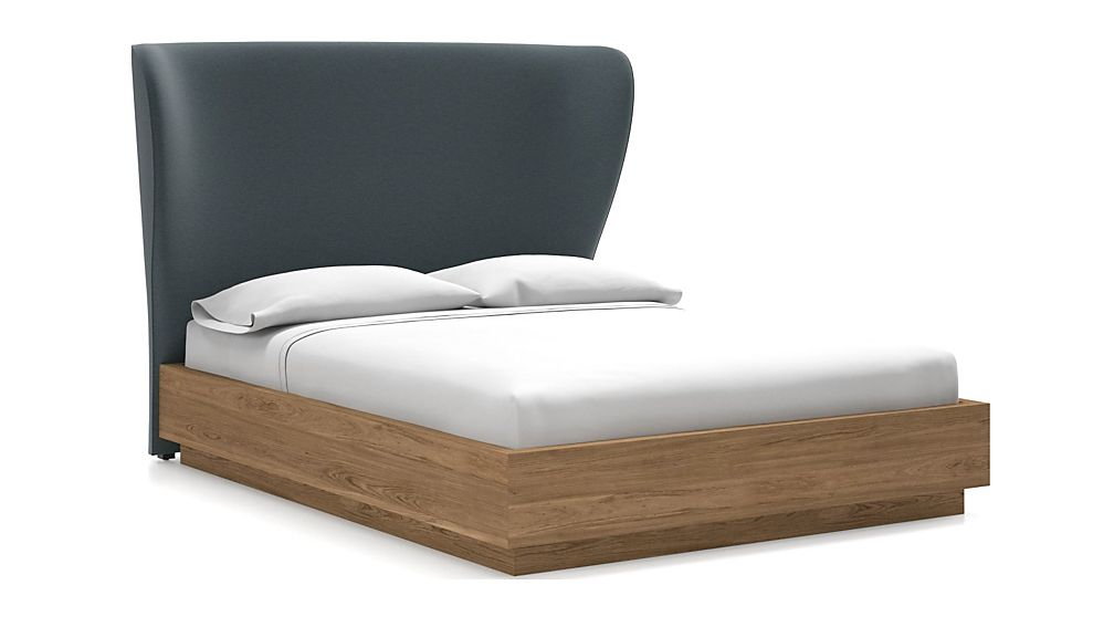 Carlie Queen Headboard with Batten Plinth-Base Bed Navy - Image 1 of 1