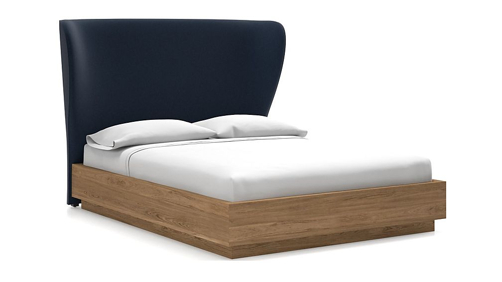 Carlie Queen Headboard with Batten Plinth-Base Bed Sapphire - Image 1 of 1