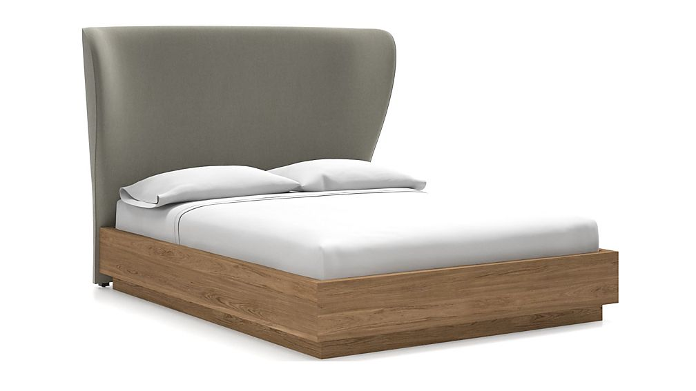 Carlie Queen Headboard with Batten Plinth-Base Bed Dove - Image 1 of 1