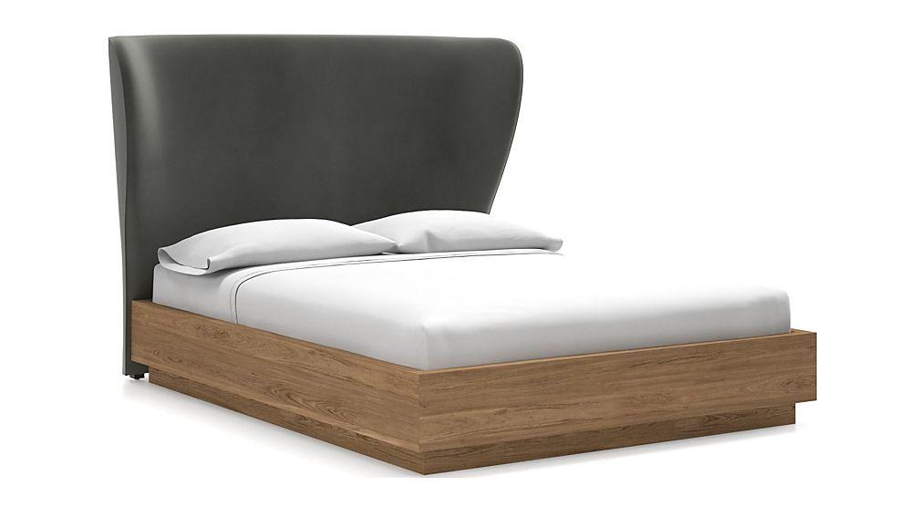Carlie Queen Headboard with Batten Plinth-Base Bed Fog - Image 1 of 1