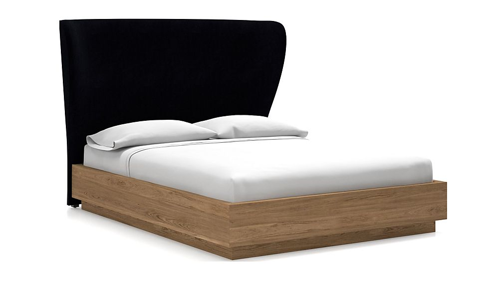Carlie Queen Headboard with Batten Plinth-Base Bed Midnight - Image 1 of 1