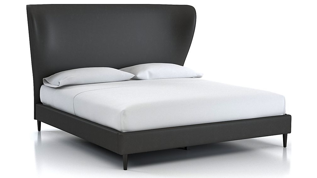 Carlie King Wingback Bed Grey Faux Leather - Image 1 of 2