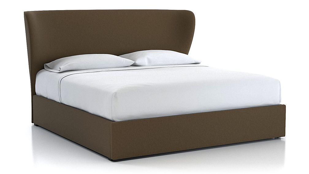 Carlie King Upholstered Headboard with Gas-Lift Storage Base Bark - Image 1 of 5
