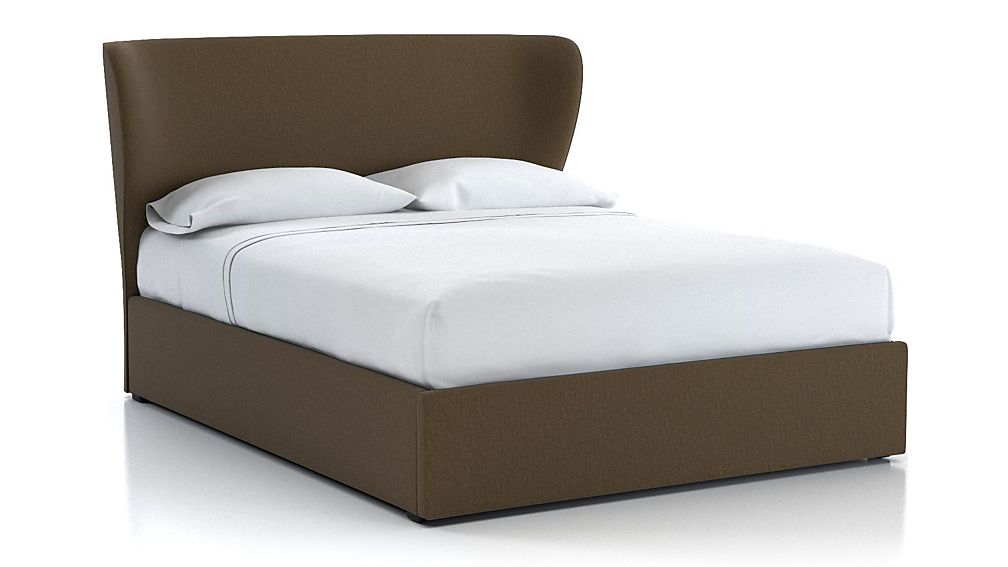 Carlie Queen Upholstered Headboard with Gas-Lift Storage Base Bark - Image 1 of 5