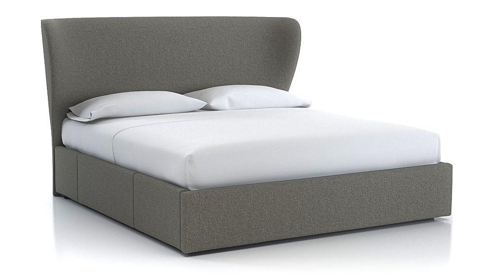 Carlie King Wingback Headboard with Upholstered Storage Base Felt Grey - Image 1 of 1