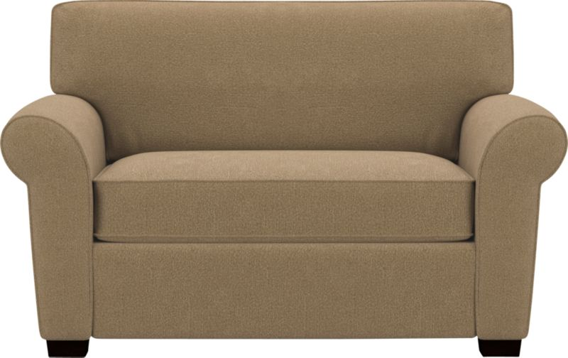"""All the comforts of a twin-size bed, tucked inside a plush sofa. An innovative wood frame with built-in 5""""-thick high-density foam mattress unfolds and extends all the way to the back of the sofa. The result is a comfortable sleeping surface that's 5"""" to 10"""" larger than a conventional sleeper—and it takes up less floor space. Sleeper mechanism includes two easy-open reinforced fabric-covered handles and matched deck flap.<br /><br />After you place your order, we will send a fabric swatch via next day air for your final approval. We will contact you to verify both your receipt and approval of the fabric swatch before finalizing your order.<br /><br /><NEWTAG/><ul><li>Eco-friendly construction</li><li>Kiln-dried wood frame</li><li>Seat cushions are soy-based polyfoam wrapped in downproof ticking</li><li>Back cushions are polyfiber wrapped in downproof ticking</li><li>5"""" high-density foam mattress is spill-, dirt-, germ- and microbe-resistant</li><li>Comfort Sleeper ™ 24/7 spring-loaded sleeper mechanism</li><li>Carlton sleeper sofas open to a depth of 85""""</li><li>Hardwood legs have a walnut finish</li><li>Self-welt detail</li><li>Benchmade</li><li>See additional frame options below</li></ul>"""