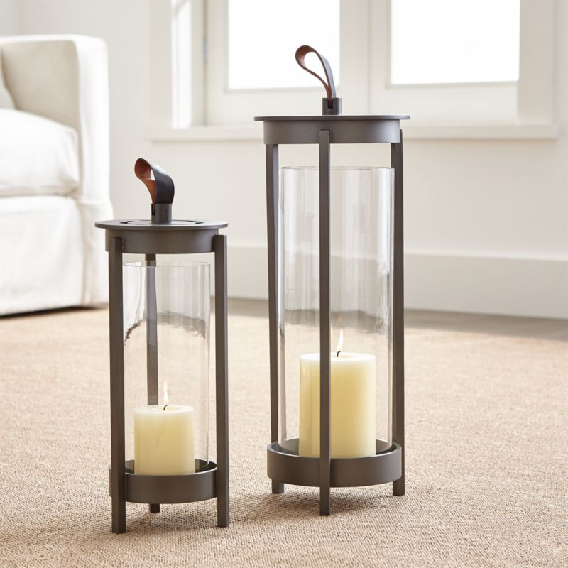 & Carmel Metal Pewter Lanterns | Crate and Barrel