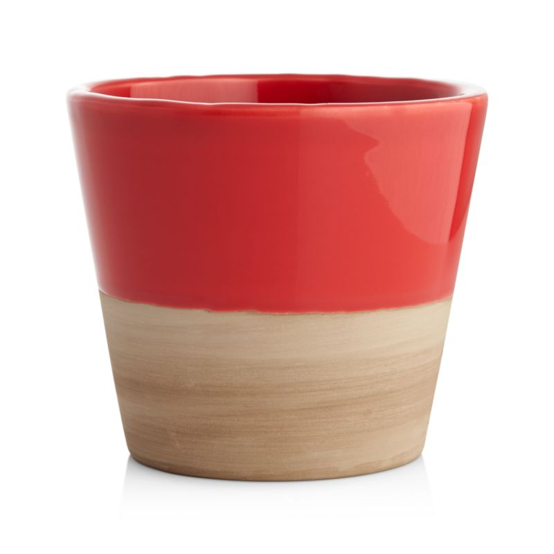 Two-tone earthenware planters cache small pots of herbs or small flowers in garden-party brights with contrasting neutrals.<br /><br /><NEWTAG/><ul><li>Glazed earthenware</li><li>For indoor or outdoor use</li><li>Drainage hole</li><li>Bring indoors during freezing temperatures</li><li>Made in Portugal</li></ul>
