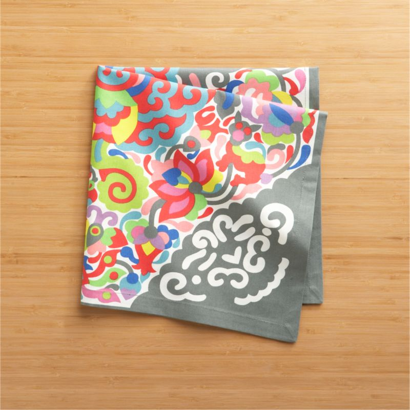 """Exuberant colors play on grey in a modern, expressive medallion pattern inspired by vintage Indian fabrics. Cotton napkin is tailored with 3/4"""" hem and mitered corners.<br /><br /><NEWTAG/><ul><li>100% cotton</li><li>Machine wash cold, tumble dry; warm iron as needed</li><li>Made in India</li></ul>"""