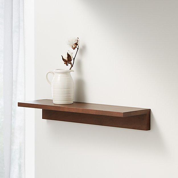 """Carren 24"""" Floating Walnut Ledge Shelf - Image 1 of 3"""