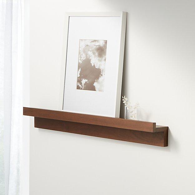 """Carren 36"""" Floating Walnut Ledge Shelf with Lip - Image 1 of 2"""
