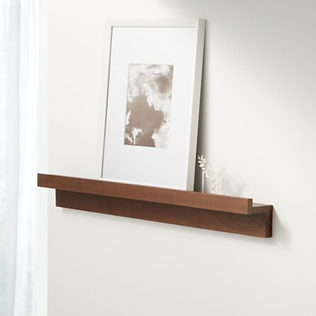 Carren  Floating Walnut Ledge Shelf With Lip Crate And Barrel
