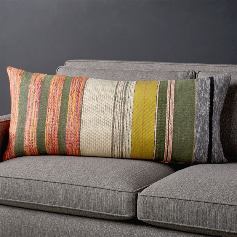 """Carreno Multicolored Lumbar Pillow With Feather Down Insert 36""""X16"""" by Crate&Barrel"""