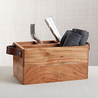 Carson Flatware Caddy with Leather Handles