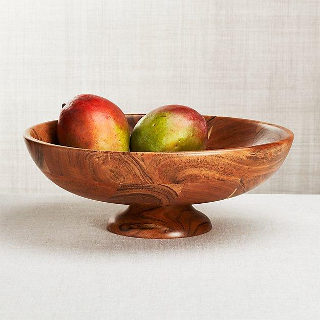 Carson Acacia Footed Fruit Bowl Reviews Crate And Barrel