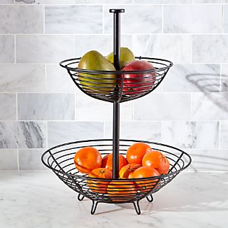 Carter 2 Tier Matte Black Fruit Basket