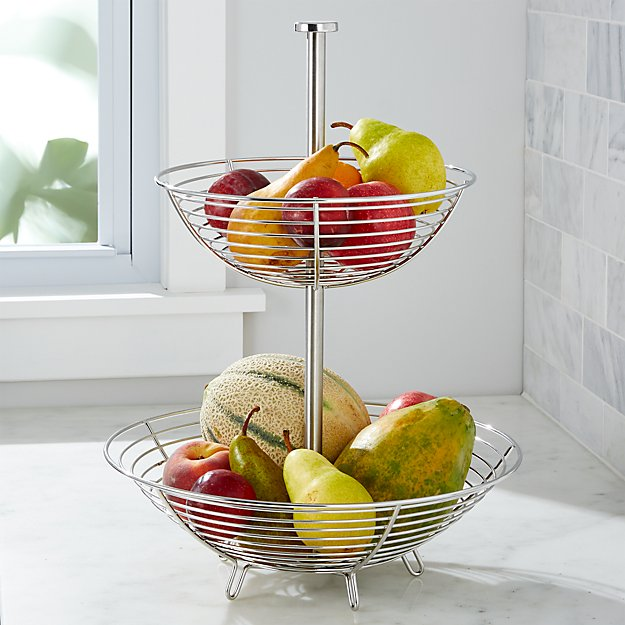 Carter Stainless 2 Tier Fruit Basket Reviews Crate And