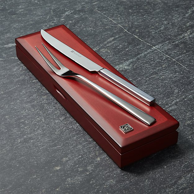 Stainless steel carving set in rosewood box crate and barrel