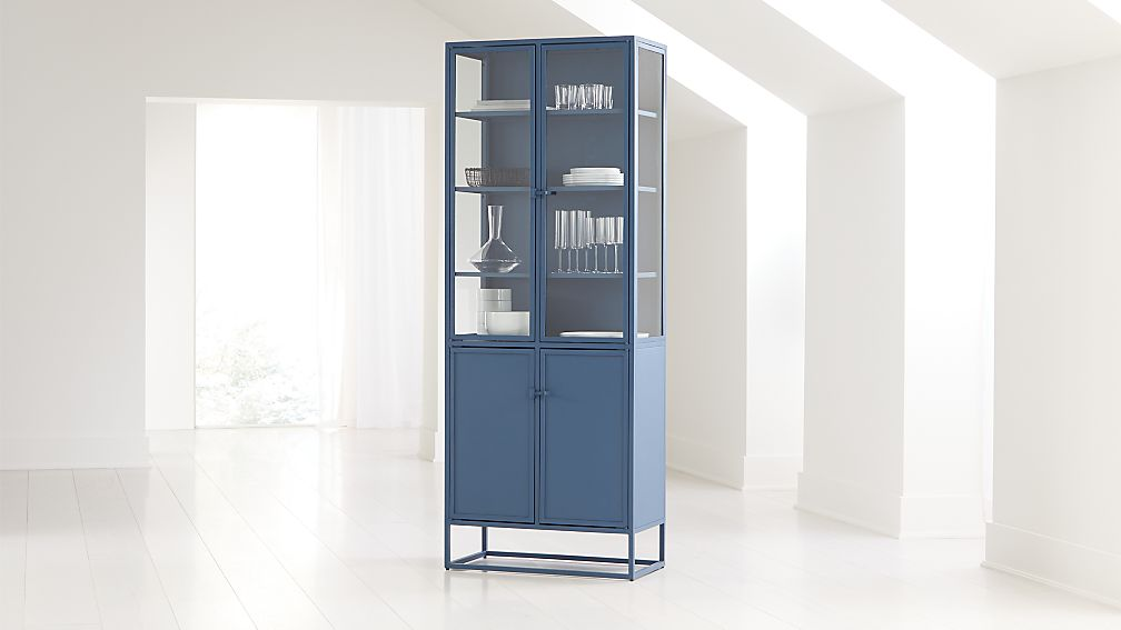 Casement Blue Tall Metal Cabinet - Image 1 of 7