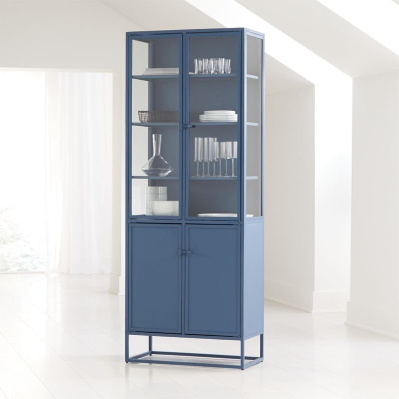 Casement Blue Tall Metal Cabinet Reviews Crate And Barrel