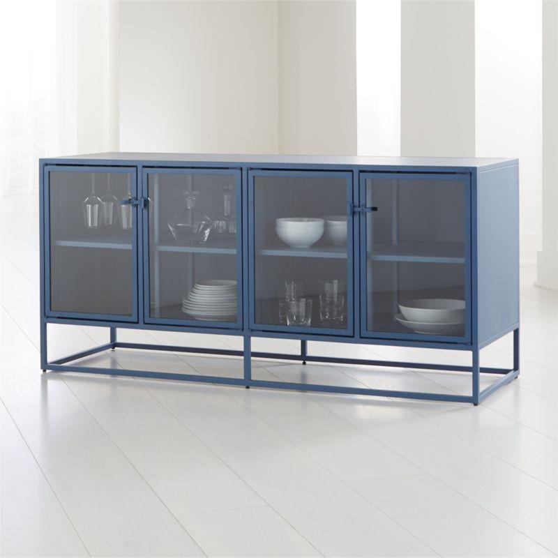 Casement Blue Large Metal Sideboard