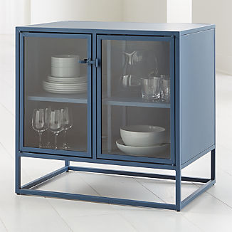 Casement Blue Small Metal Sideboard