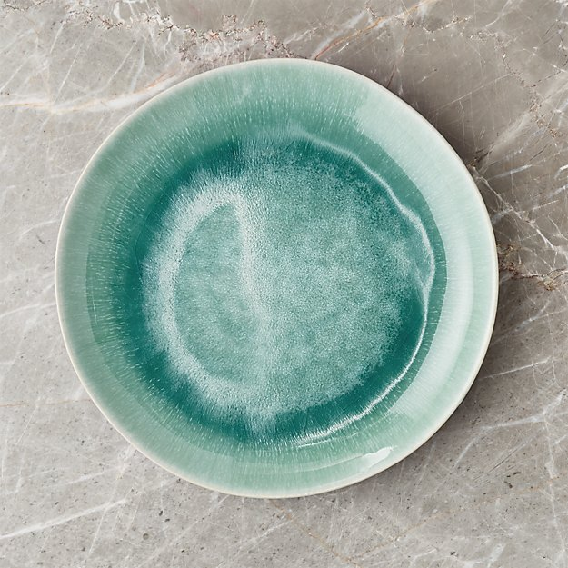 Caspian Aqua Reactive Glaze Dinner Plate - Image 1 of 5