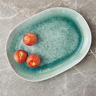 Caspian Aqua Reactive Glaze Oval Platter