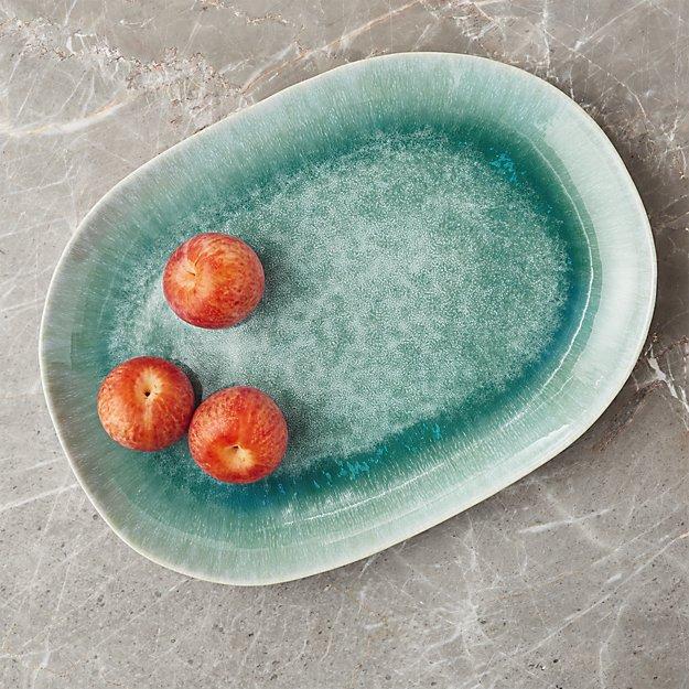 Caspian Aqua Reactive Glaze Oval Platter Reviews Crate And Barrel