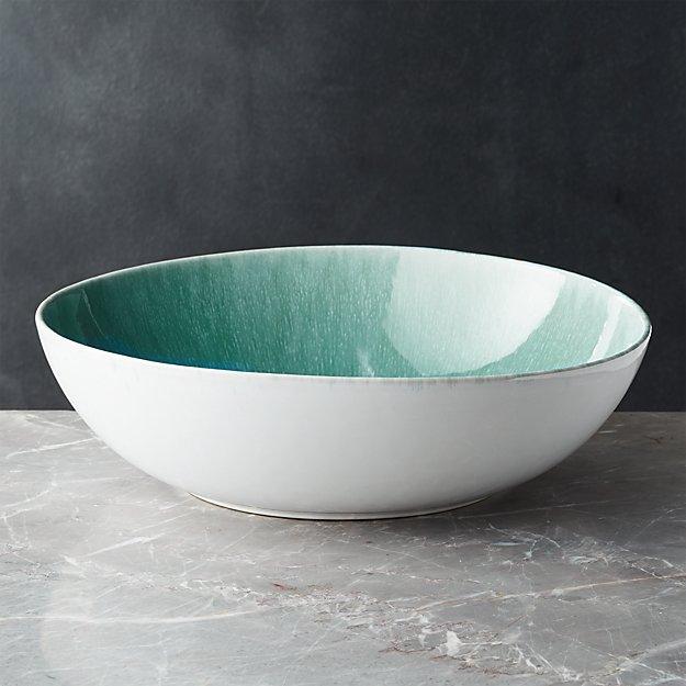 Caspian Aqua Reactive Glaze Serving Bowl - Image 1 of 4