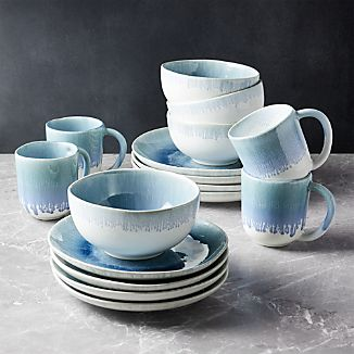 Caspian 16-Piece Blue Reactive Glaze Dinnerware Set & Glazed Stoneware Dinnerware | Crate and Barrel