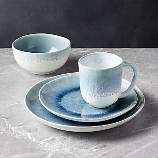 Caspian 4-Piece Blue Reactive Glaze Dinnerware Set & Glazed Stoneware Dinnerware | Crate and Barrel