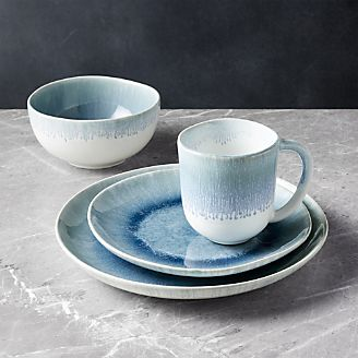 Caspian 4-Piece Blue Reactive Glaze Dinnerware Set & Artisan Ceramics - Handmade Dinnerware | Crate and Barrel