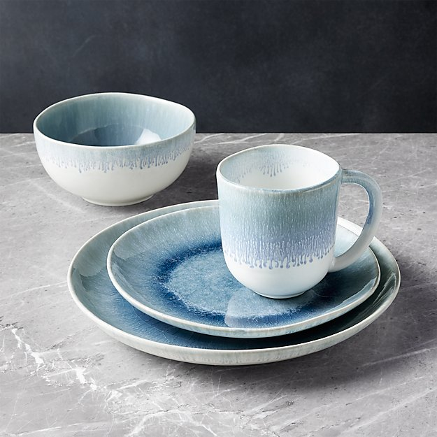 Caspian 4-Piece Blue Reactive Glaze Dinnerware Set - Image 1 of 3