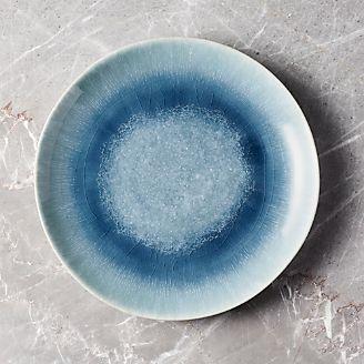 Caspian Blue Reactive Glaze Dinner Plate & Dinner Plates: Square Oval Rectangular \u0026 Round   Crate and Barrel