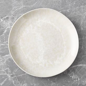 Caspian Cream Reactive Glaze Dinner Plate & Dinner Plates: Square Oval Rectangular \u0026 Round | Crate and Barrel