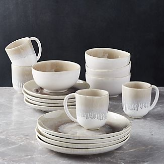 Caspian 16-Piece Grey Reactive Glaze Dinnerware Set & Glazed Portugal Dinnerware | Crate and Barrel