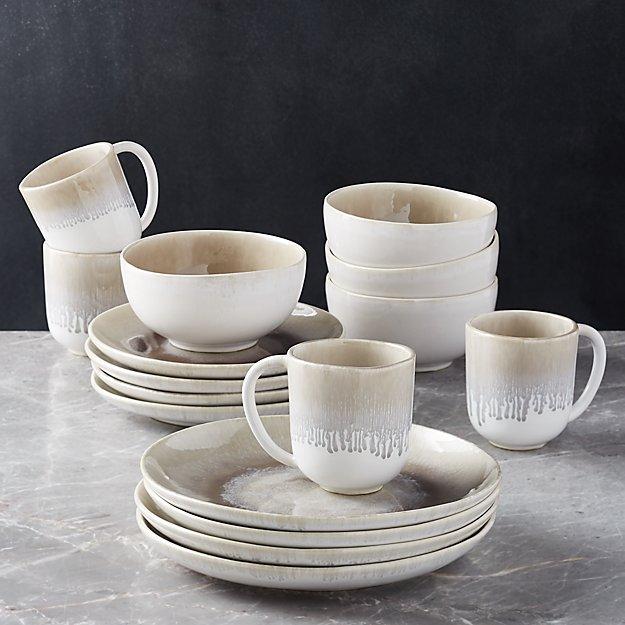Caspian 16 Piece Grey Reactive Glaze Dinnerware Set