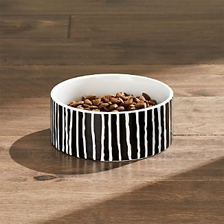 Cat Bowl with Small Black Stripes