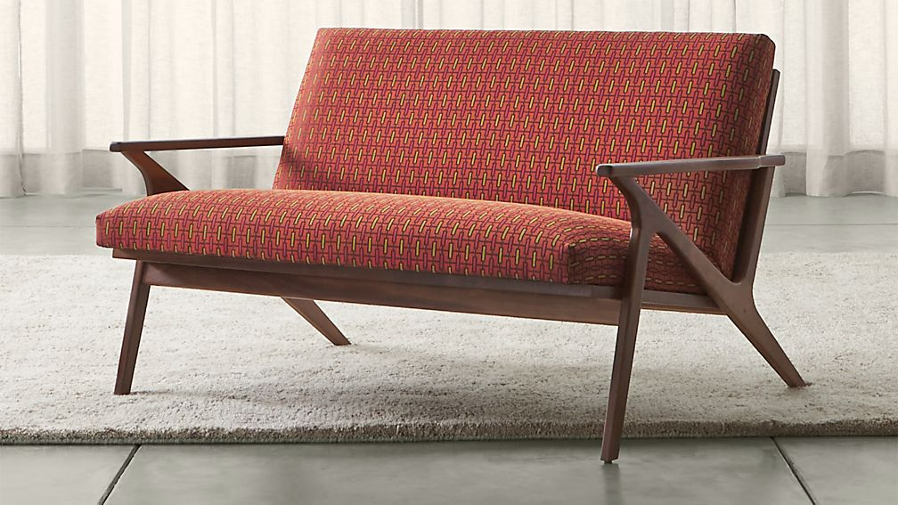 Cavett Patterned Wood Frame Loveseat + Reviews | Crate and Barrel