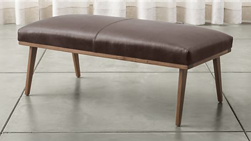 Cavett Leather Wood Frame Bench