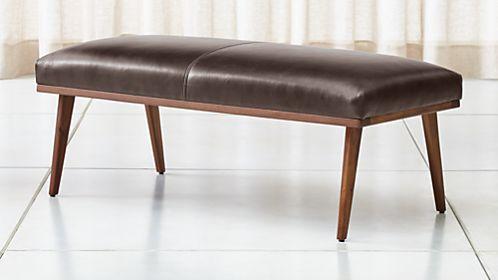 Bon Cavett Leather Wood Frame Bench