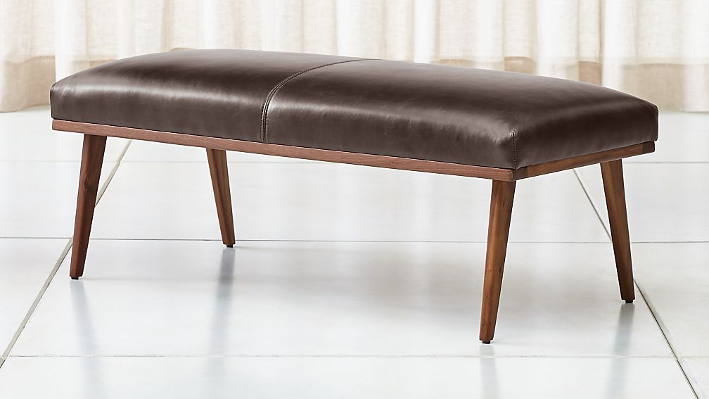 Cavett Leather Wood Frame Bench - Image 1 of 5