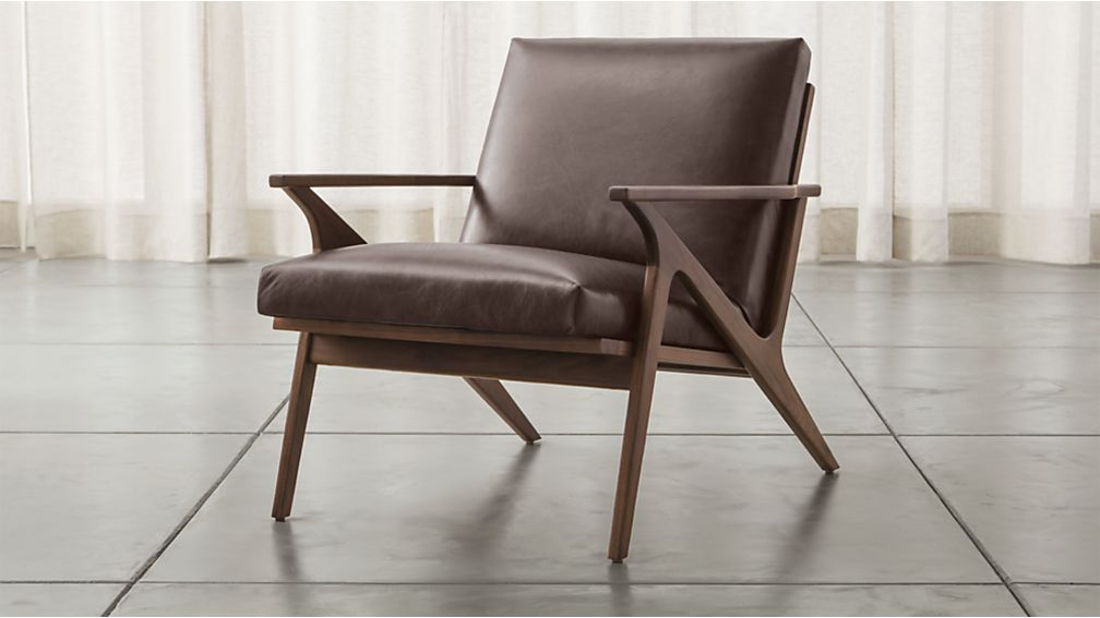 Cavett Leather Wood Frame Chair + Reviews | Crate and Barrel